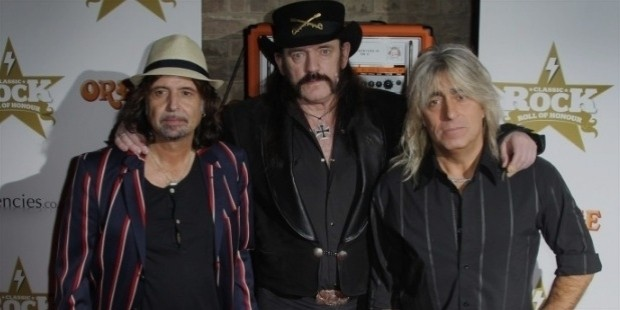 lemmy  kilmister  center  poses with motorhead bandmates phil campbell, left, and mikkey dee i