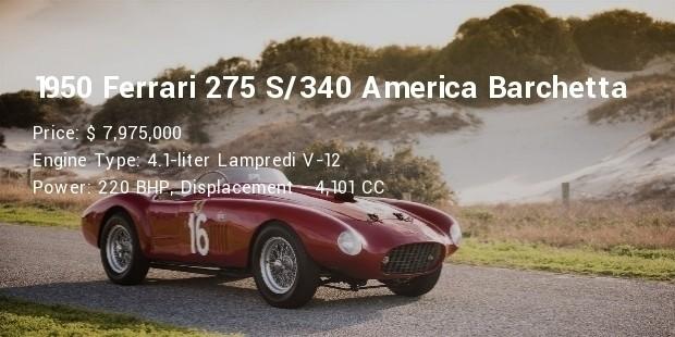 1950 ferrari 275 s 340 america barchetta specs