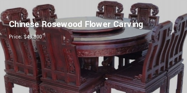 3 Chinese Rosewood Flower Carving Round Dining Table Set