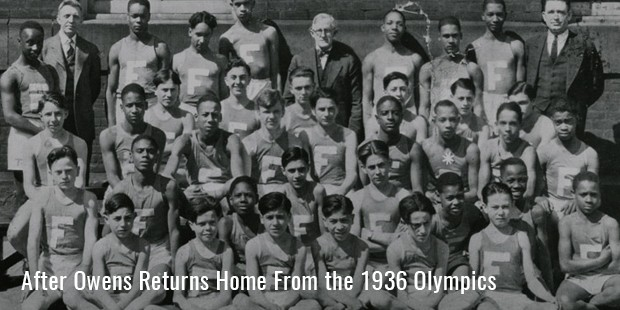 after owens returns home from the 1936 olympics