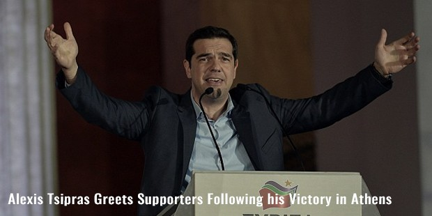 alexis tsipras greets supporters following his victory in athens
