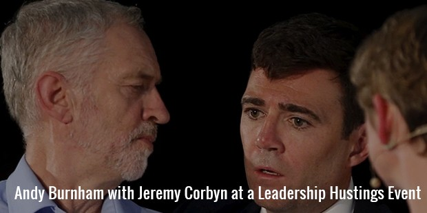 andy burnham with jeremy corbyn at a leadership hustings event