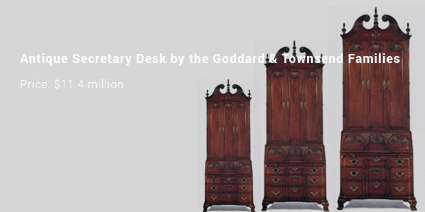 antique secretary desk by the goddard   townsend families