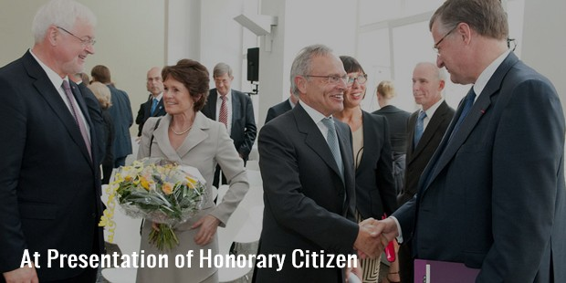 at presentation of honorary citizen