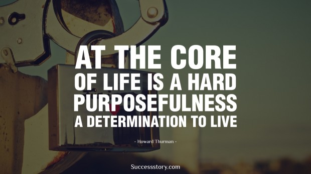 at the core of life is a hard purposefulness, a determination to live   howard thurman