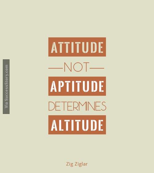 Attitude, not Aptitude, determines