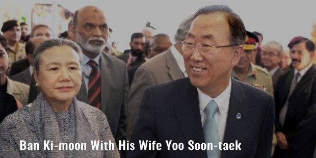 ban ki moon with his wife yoo soon taek