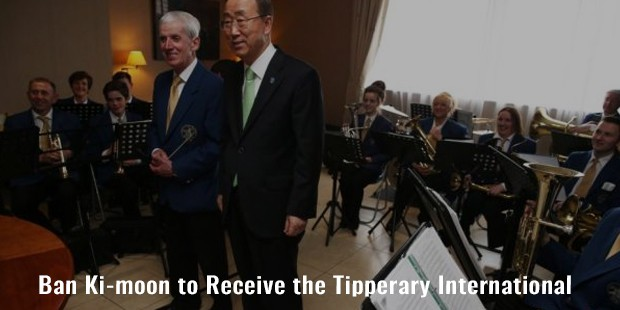 ban ki moon to receive the tipperary international