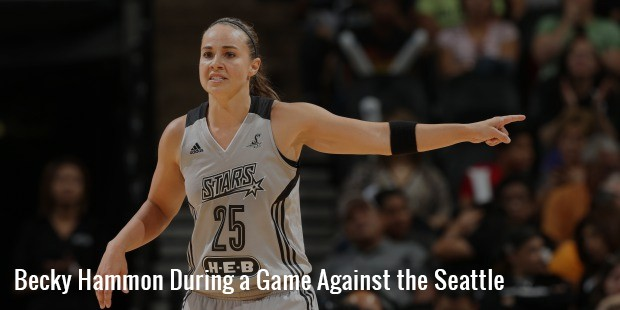 becky hammon during a game against the seattle