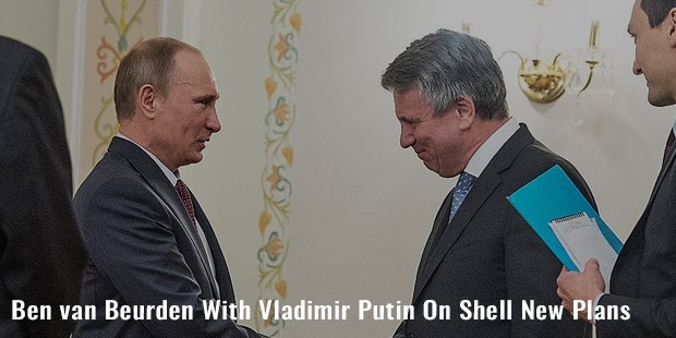 ben van beurden with vladimir putin on shell new plans