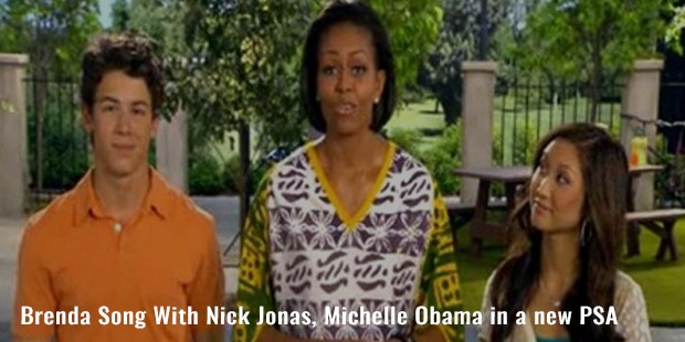 brenda song with nick jonas, michelle obama in a new psa