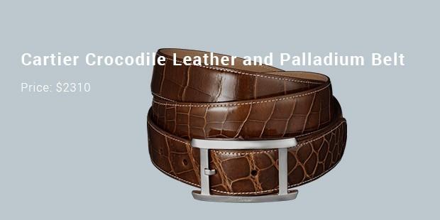 cartier crocodile leather and palladium belt