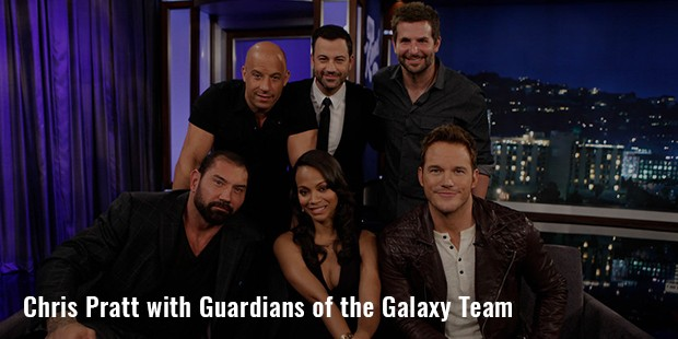 chris pratt with guardians of the galaxy team