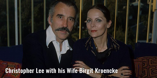 christopher lee with his wife birgit kroencke