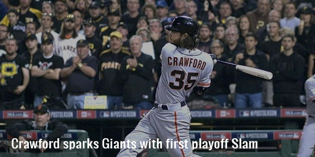 crawford sparks giants with first playoff slam
