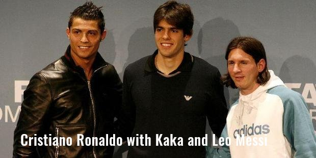 cristiano ronaldo with kaka and leo messi