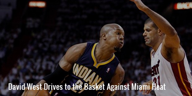 david west drives to the basket against miami heat