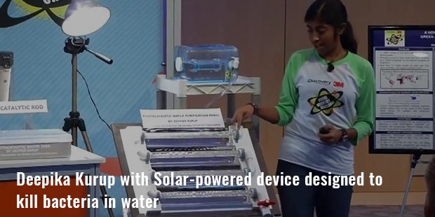 deepika kurup with solar powered device designed to