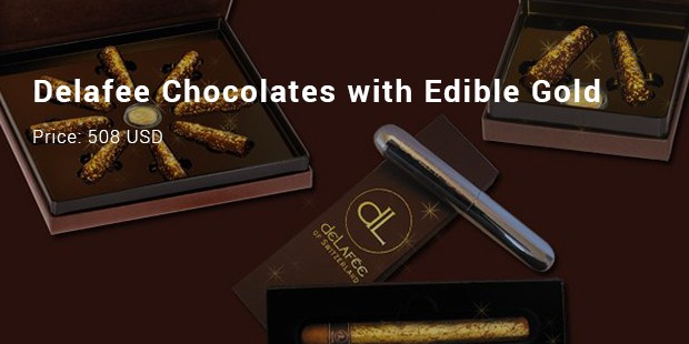 delafee chocolates with edible gold