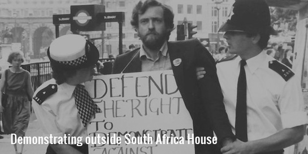 demonstrating outside south africa house