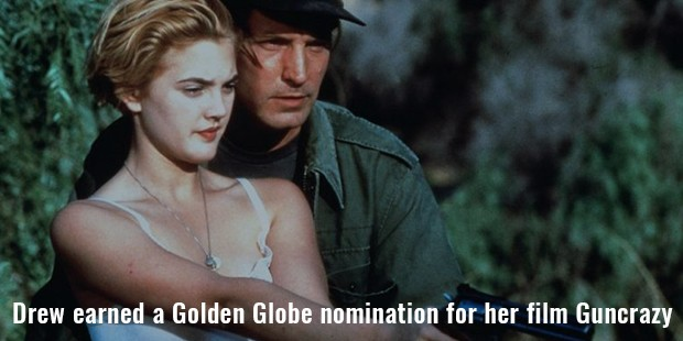 drew earned a golden globe nomination for her film guncrazy
