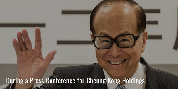 during a press conference for cheung kong holdings