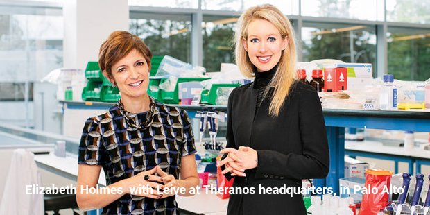 elizabeth holmes  with leive at theranos headquarters, in palo alto