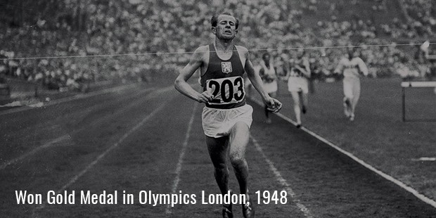 emil zatopek won gold medal in olympics london, 1948