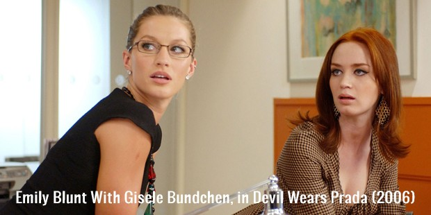 emily blunt with gisele bundchen, in devil wears prada  2006