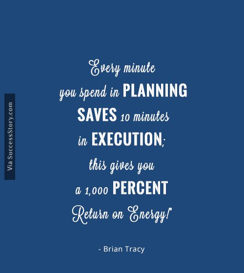 Every minute you spend in planning