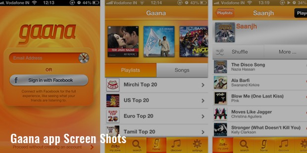 gaana app screen shots