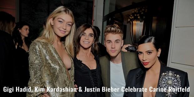 gigi hadid, kim kardashian   justin bieber celebrate carine roitfeld