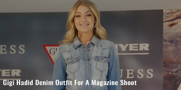 gigi hadid denim outfit for a magazine shoot