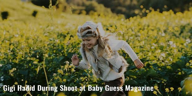 gigi hadid during shoot at baby guess magazine