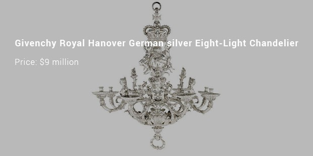 givenchy royal hanover german silver eight light chandelier