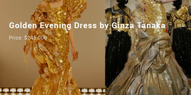 golden evening dress by ginza tanaka