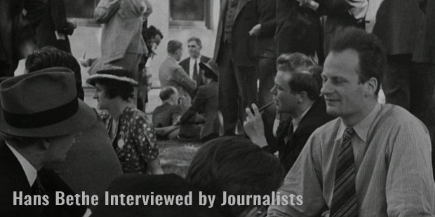 hans bethe interviewed by journalists
