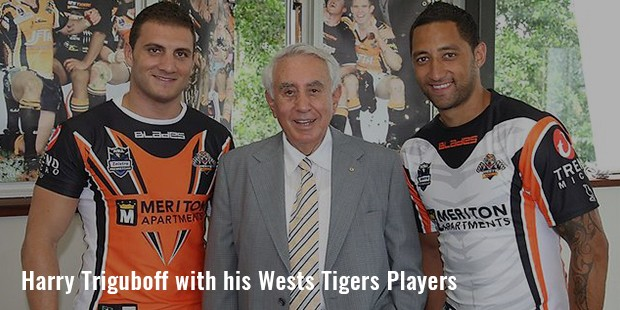 harry triguboff with his wests tigers players