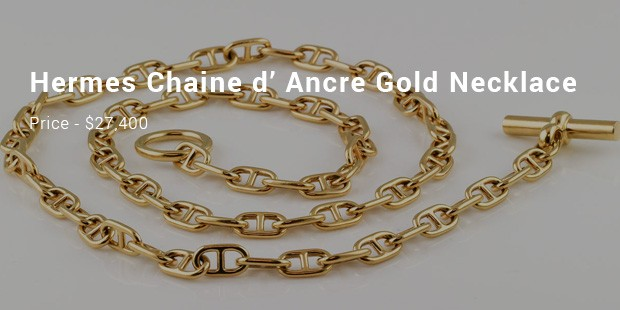 hermes chaine d' ancre gold necklace