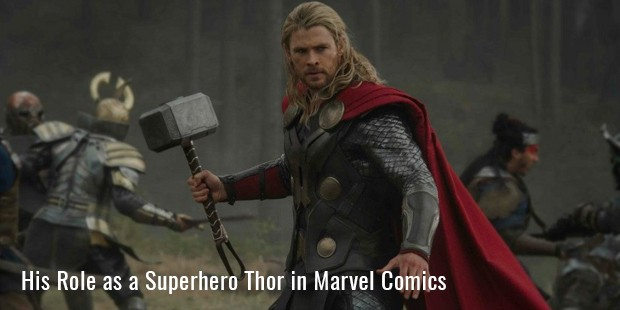 his role as a superhero thor in marvel comics