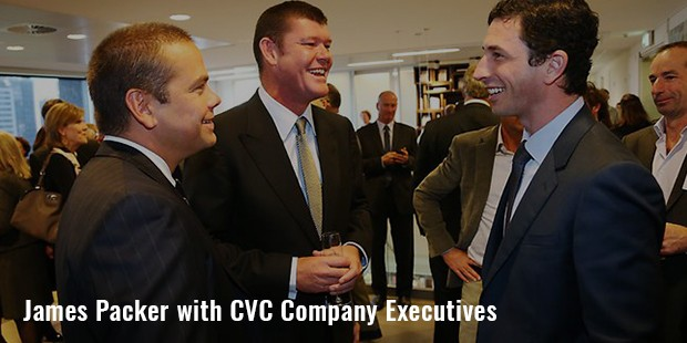 james packer with cvc company executives