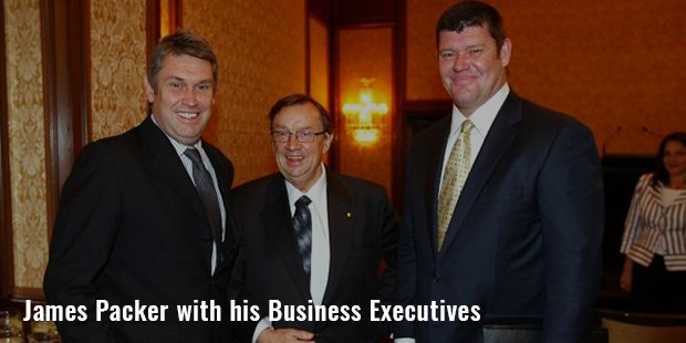 james packer with his business executives