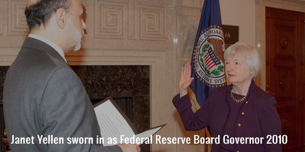 janet yellen sworn in as federal reserve board governor 2010