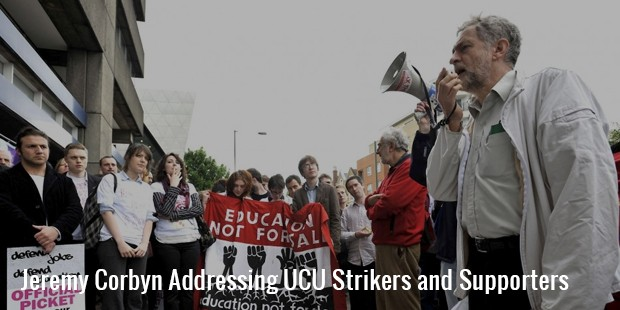 jeremy corbyn addressing ucu strikers and supporters