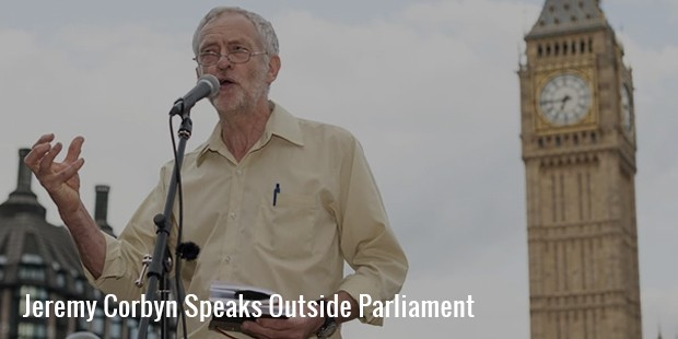 jeremy corbyn speaks outside parliament