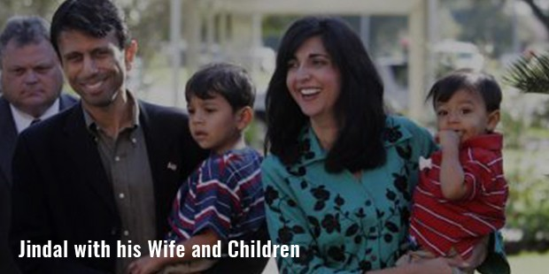 jindal with his wife and children