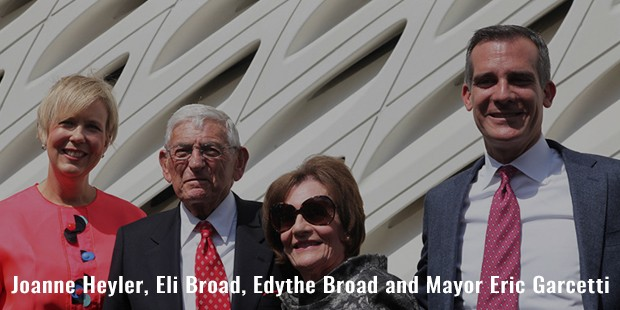 joanne heyler, eli broad, edythe broad and mayor eric garcetti