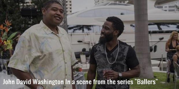 john david washington in a scene from the series ballers