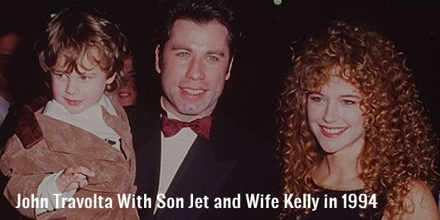 john travolta with son jet and wife kelly in 1994