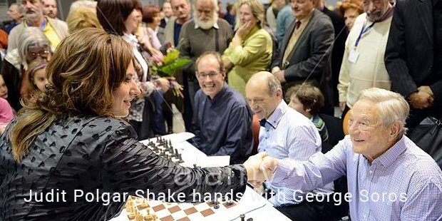 judit polgar shake hands with george soros